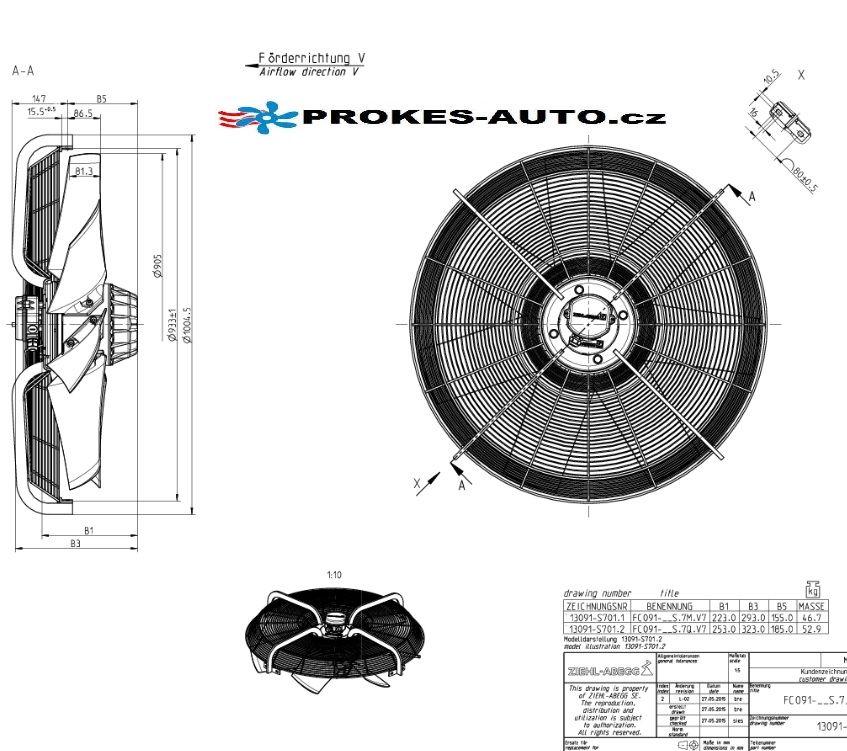 ZIEHL-ABEGG Saugventilator 910 mm 400V 6-polig 209589 / FC091-SDS.7Q.V7 / FC091-SDS7QV7 / 33002630